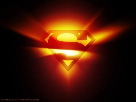 Símbolo do Superman S vermelho brilhante e radiante