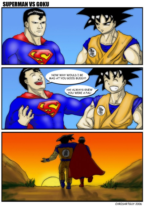 Goku e Superman amigos