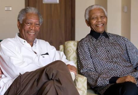 Nelson Mandela e Morgan Freeman